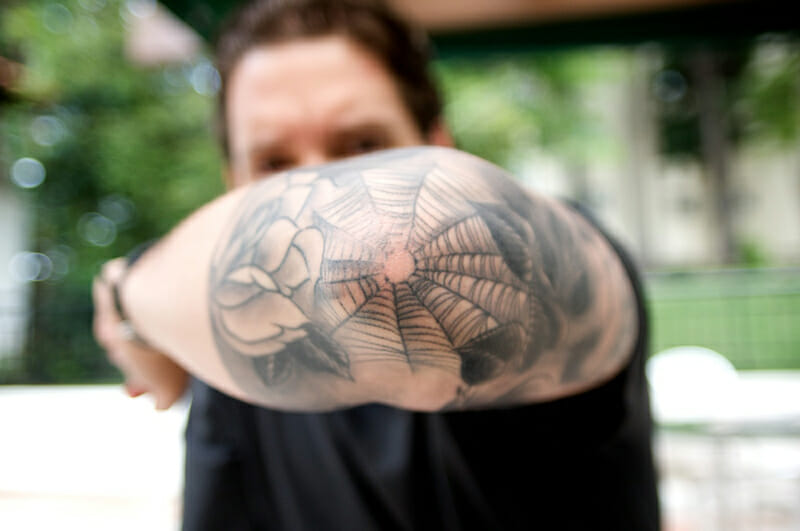 Elbow Spider Web Tattoo