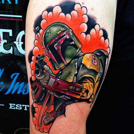 Bob Fett Tattoo by Mike Stockings